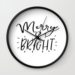 Merry and Bright Svg - Digital File - Clip Art - SVG, PNG, JPG, - Personal and Commercial Use - Arts Wall Clock