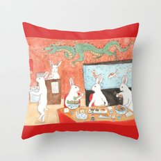 Sushi and Noodles Throw Pillow