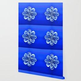 White Bloom on Blue Wallpaper