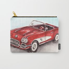 Watercolor Red Vintage Car Carry-All Pouch