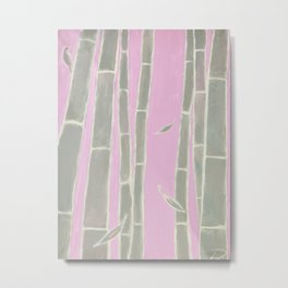 """""""Morning bamboo"""", a pastel-toned canvas painting depicting bamboo trees Metal Print"""