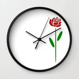 Single Long Stemmed Red Rose Wall Clock