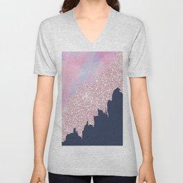 Pink navy blue watercolor brushstrokes glitter Unisex V-Neck