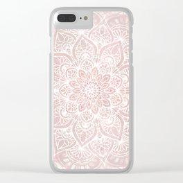 Mandala Yoga Love, Blush Pink Floral Clear iPhone Case