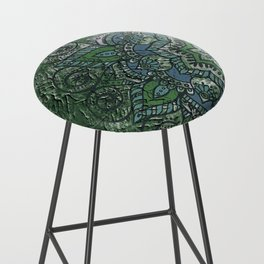 N51 - Antique Boho Traditional Moroccan Style 2020 Trending Green Color. Bar Stool