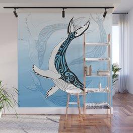 Humpback Whale Blue Spirit Tribal Art Wall Mural