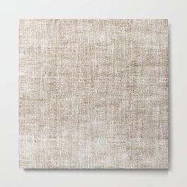 White Washed Burlap Print Metal Print