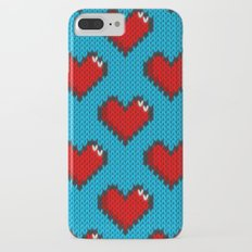 Knitted heart pattern - blue iPhone 8 Plus Slim Case