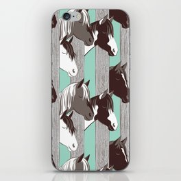Waiting for the horse race // mint background iPhone Skin