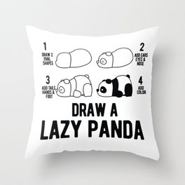 Draw a lazy Panda fun animal step by step painting Throw Pillow