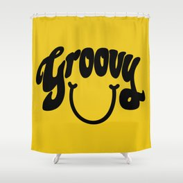 Groovy Smile // Black Smiley Face Fun Retro 70s Hippie Vibes Mustard Yellow Lettering Typography Art Shower Curtain