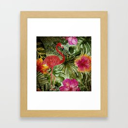 Tropical Vintage Exotic Jungle- Floral and Flamingo watercolor pattern Framed Art Print
