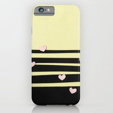 Pink Hearts on Black Paper Cut Slim Case iPhone 6s