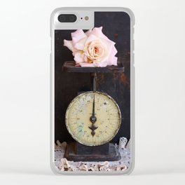 Blush Rose on a Vintage Scale Clear iPhone Case