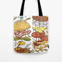 burger Tote Bags featuring Burger by Duke.Doks