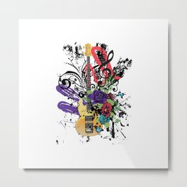 Grunge Guitar Illustration Metal Print