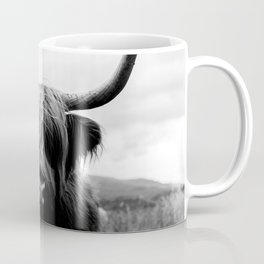 Scottish Highland Cattle Black and White Animal Coffee Mug