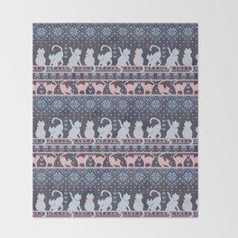 Fair Isle Knitting Cats Love // purple white and pink kitties Throw Blanket