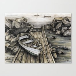 Old Boat on the Dock Canvas Print