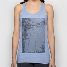 14-Miami Florida 1950 old vintage gray map Unisex Tank Top