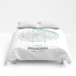Shanghai China City Map with GPS Coordinates Comforters