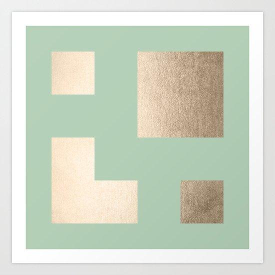 Simply Geometric White Gold Sands on Pastel Cactus Green Art Print