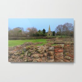 English Village Church overlooking Roman Excavations Metal Print