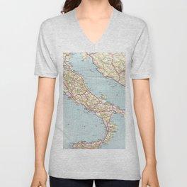 Italian Vintage Map of the Sixties Unisex V-Neck
