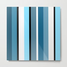 Blue white black stripes pattern Metal Print
