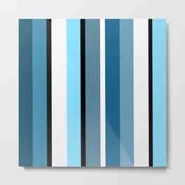 Blue white black stripes pattern Metal Print