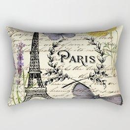 french botanical print purple butterfly lavender floral paris eiffel tower Rectangular Pillow