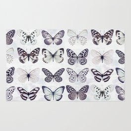 Black and white marble butterflies Rug