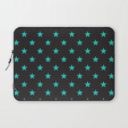 Stary Stars - Tiffany blue on black background Laptop Sleeve