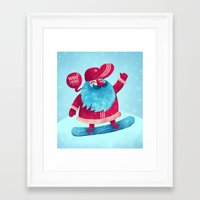 snowboard Framed Art Prints featuring Snowboard Santa by Lime