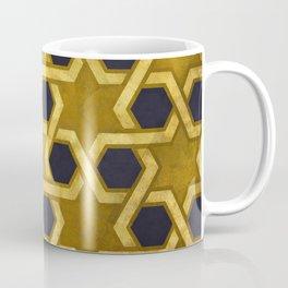 Star of David Pattern in Gold and Black Coffee Mug