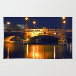 Nocturnal Lights on the river Spree in Berlin Rug
