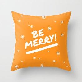 Bright Orange Be Merry Christmas Snowflakes Throw Pillow
