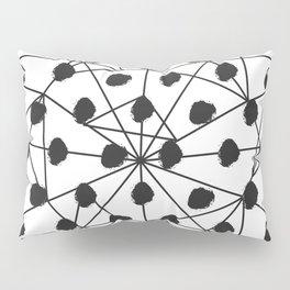 Geometrical black white watercolor polka dots Pillow Sham