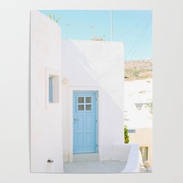 Colorful Blue Door and White Building in Oia Santorini Island Greece Poster