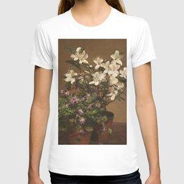 Henri Fantin Latour - Violetas Y Azaleas T-shirt