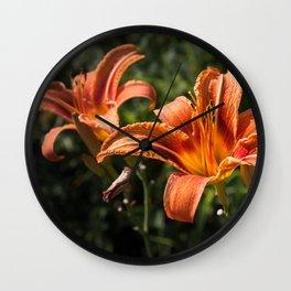 Orange Yellow Fire Lily Wall Clock