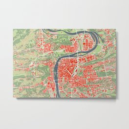 Prague map classic Metal Print