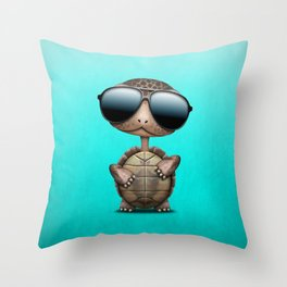 Cool Baby Turtle Wearing Sunglasses Throw Pillow