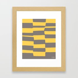 Benches (Yellow) by Matthew Korbel-Bowers for Covell & Company Framed Art Print