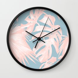 Island Love Millennial Pink on Pale Teal Blue Wall Clock