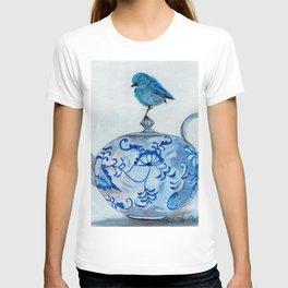 Blue Bird on Teapot T-shirt