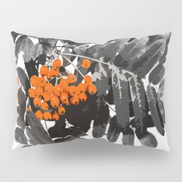 Red Rowan Berries In Black And White Background #decor #society6 Pillow Sham