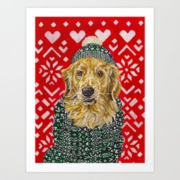 Golden Retriever in a Hat and Scarf Art Print
