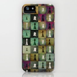 Paint and Print  Chessboard and Chess Pieces pattern iPhone Case