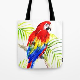 Scarlet Macaw, tropical bird, jungle Tote Bag